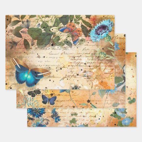 Vintage Floral Butterfly Decoupage Wrapping Paper Sheets