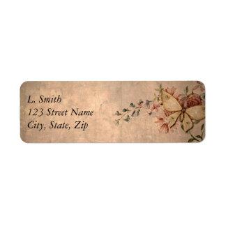 Vintage Floral Butterfly Label