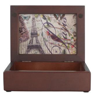 Vintage floral butterfly Paris eiffel tower Keepsake Box