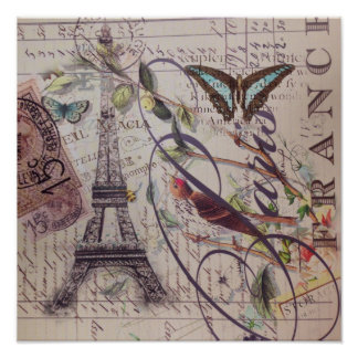 Vintage floral butterfly Paris eiffel tower Poster