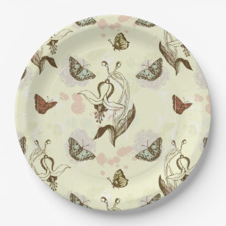 Vintage Floral Butterfly Pattern Paper Plate