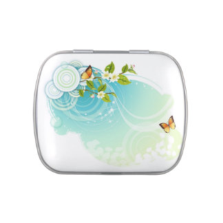 Vintage floral butterfly swirls pattern candy tin