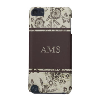 Vintage Floral Cambridge Brown Custom Monogram iPod Touch (5th Generation) Cover