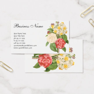 Vintage Floral Camelia Daffodil Flowers by Redoute Business Card