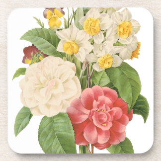 Vintage Floral Camelia Daffodil Flowers by Redoute Coaster