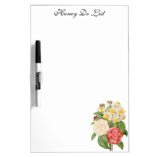 Vintage Floral Camelia Daffodil Flowers by Redoute Dry Erase Board
