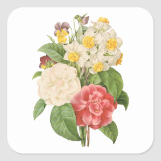 Vintage Floral Camelia Daffodil Flowers by Redoute Square Sticker