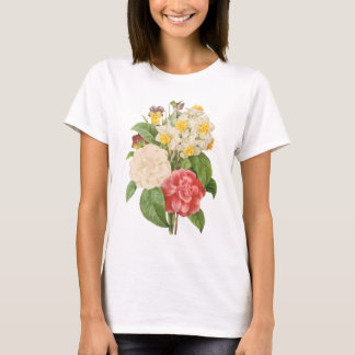 Vintage Floral Camelia Daffodil Flowers by Redoute T-Shirt