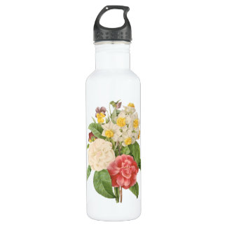 Vintage Floral Camelia Daffodil Flowers by Redoute Water Bottle