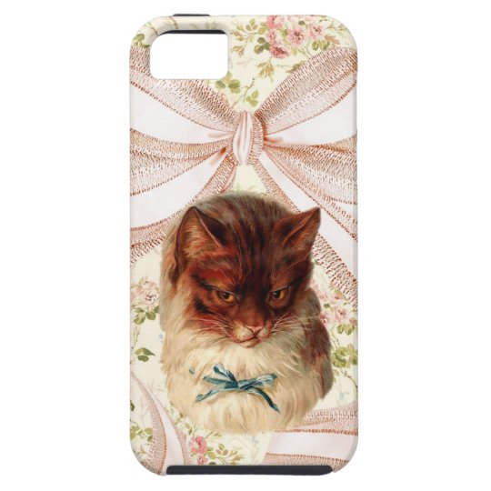 Vintage floral cat with giant bow iphone case