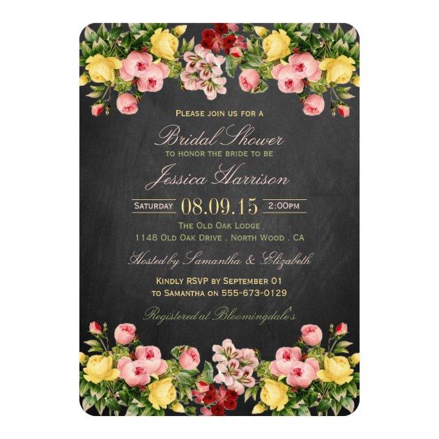 Vintage Floral Chalkboard Bridal Shower 5x7 Paper Invitation Card