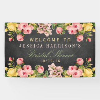 Vintage Floral Chalkboard Bridal Shower Banner
