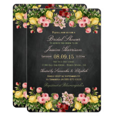 Vintage Floral Chalkboard Bridal Shower Card at Zazzle