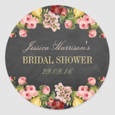 Vintage Floral Chalkboard Bridal Shower Classic Round Sticker at Zazzle