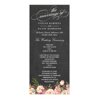 Vintage Floral Chalkboard Script Wedding Program