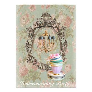 vintage floral chandelier Housewarming Party Announcement