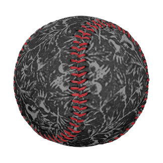 Vintage Floral Charcoal Black Flowers Leaves Baseball