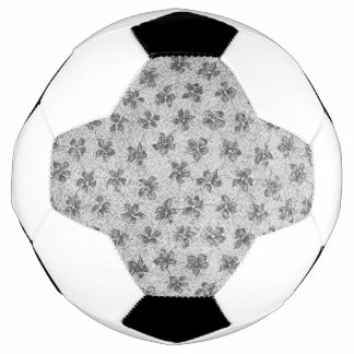 Vintage Floral Charcoal Gray Soccer Ball