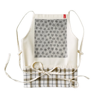 Vintage Floral Charcoal Gray Zazzle HEART Apron