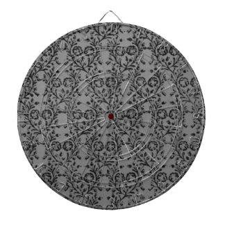 Vintage Floral Charcoal Sterling Silver Gray Dart Board