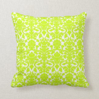 Vintage Floral Chartreuse Damask Seal Pillow