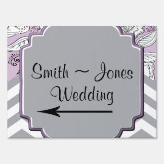 Vintage Floral Chevron Posh Wedding Direction Sign