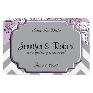 Vintage Floral Chevron Posh Wedding Save the Date Magnet