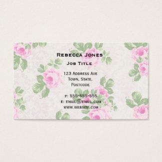 Vintage floral chic pink roses business card