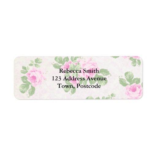 Vintage floral chic pink roses custom return address label