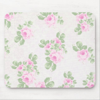 Vintage floral chic pink roses mouse pad