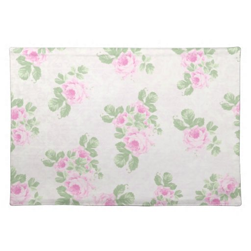 Vintage Floral Chic Pink Roses Placemats Zazzle