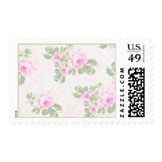Vintage floral chic pink roses postage stamps