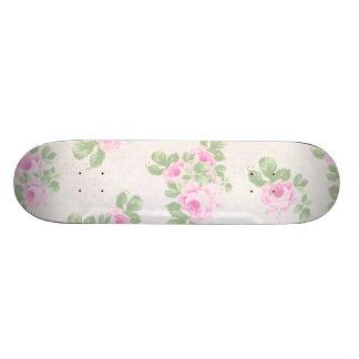 Vintage floral chic pink roses skateboard deck