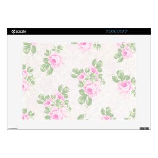 Vintage floral chic pink roses skin for laptop