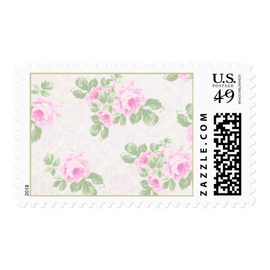 Vintage floral chic pink roses stamp