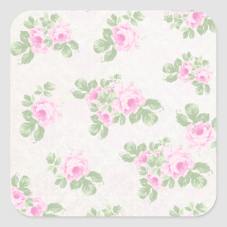 Vintage floral chic pink roses square sticker
