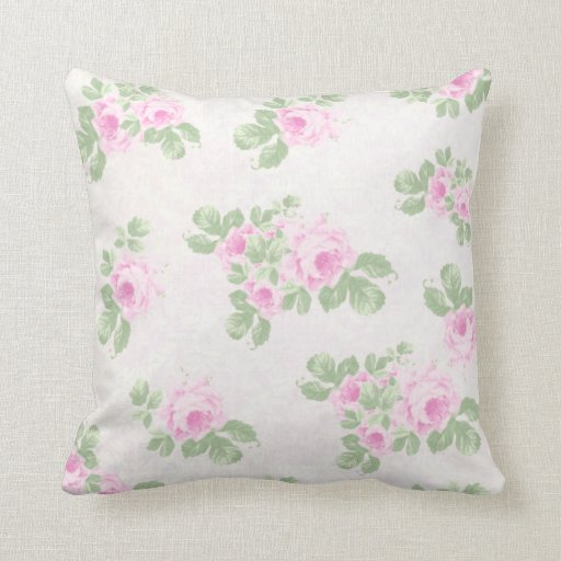 Vintage floral chic pink roses throw pillow