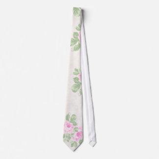 Vintage floral chic pink roses tie