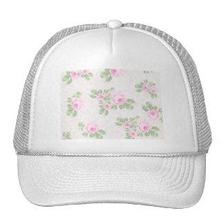 Vintage floral chic pink roses trucker hat