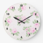 Vintage floral chic pink roses wall clock