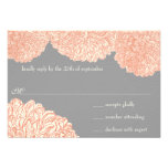 Vintage Floral Chrysanthemum Gray and Peach Invitations
