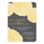 Vintage Floral Chrysanthemum Gray and Yellow Custom Announcements