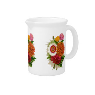 Vintage Floral Chrysanthemums Pitcher