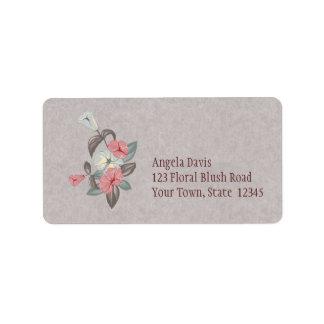 Vintage floral, ciruelo polvoriento etiquetas de dirección