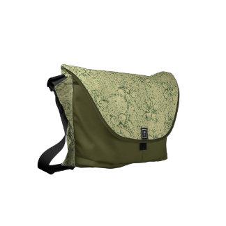 Vintage Floral Clover Green Small Messenger Bag