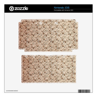 Vintage Floral Coffee Brown Decal For Nintendo 3DS