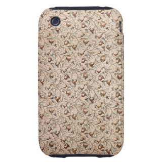 Vintage Floral Coffee Brown Tough iPhone 3 Cover