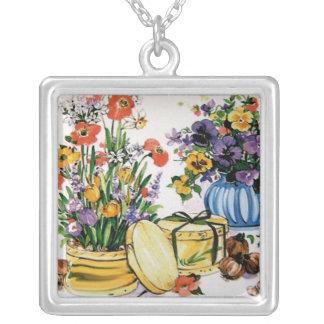 vintage floral colgante cuadrado
