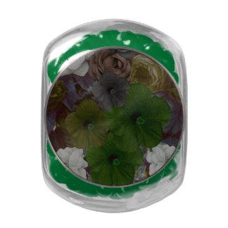 Vintage Floral Collage Glass Candy Jars