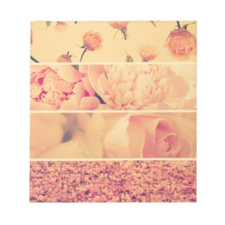 Vintage floral collage photos of loveliness style notepad